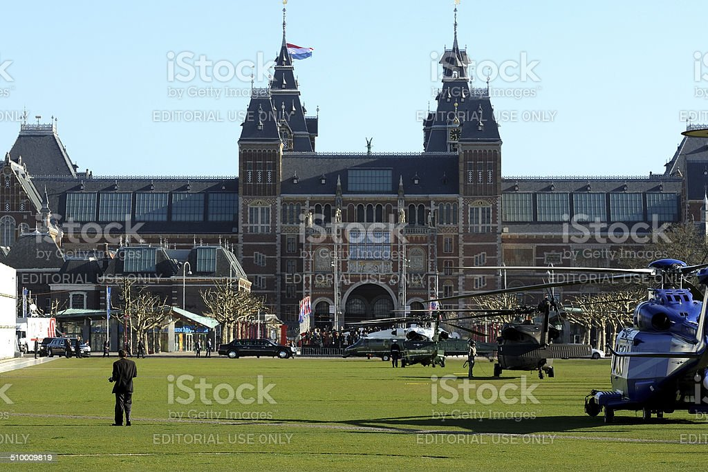 Marine One has landed in front of Rijksmuseum Amsterdam stock photo