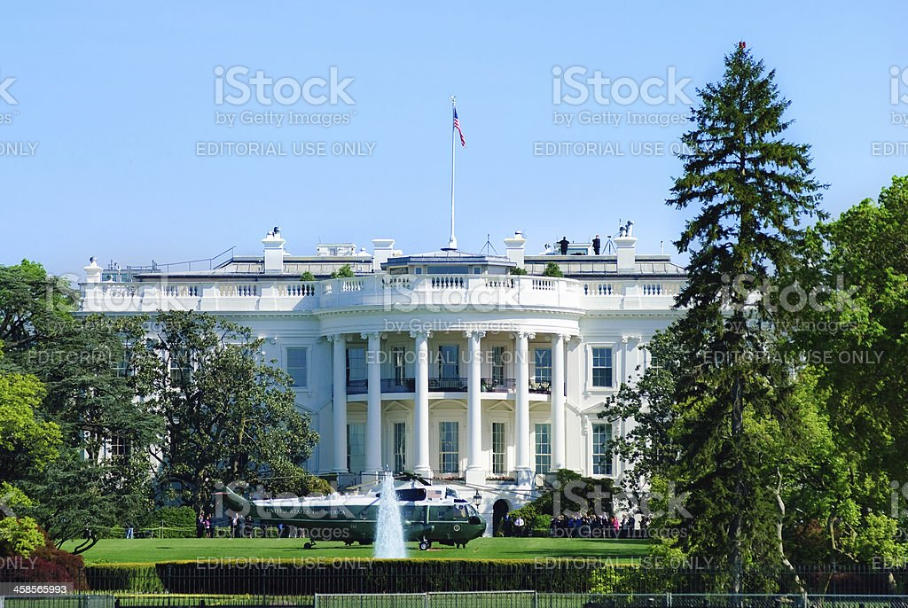Marine One helicopter at White House in Washington D.C. stock photo