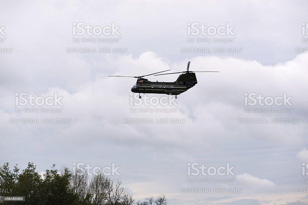 Marine One helicopter over Washington DC stock photo