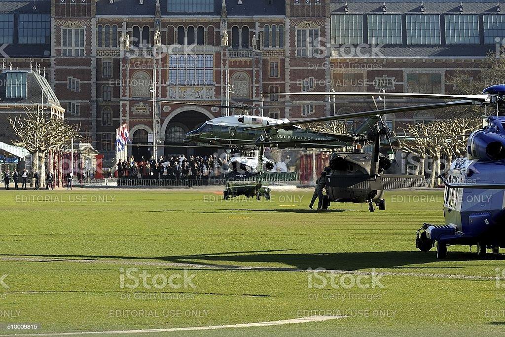 Marine One in front of Rijksmuseum Amsterdam stock photo