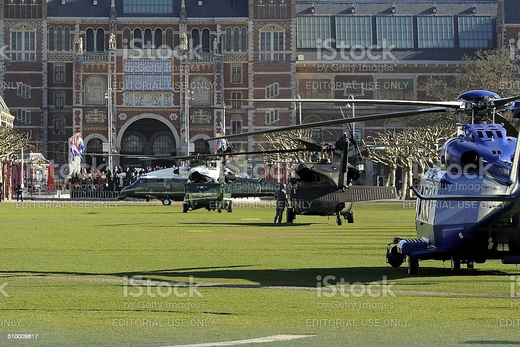 Marine One touches down in front of Rijksmuseum stock photo