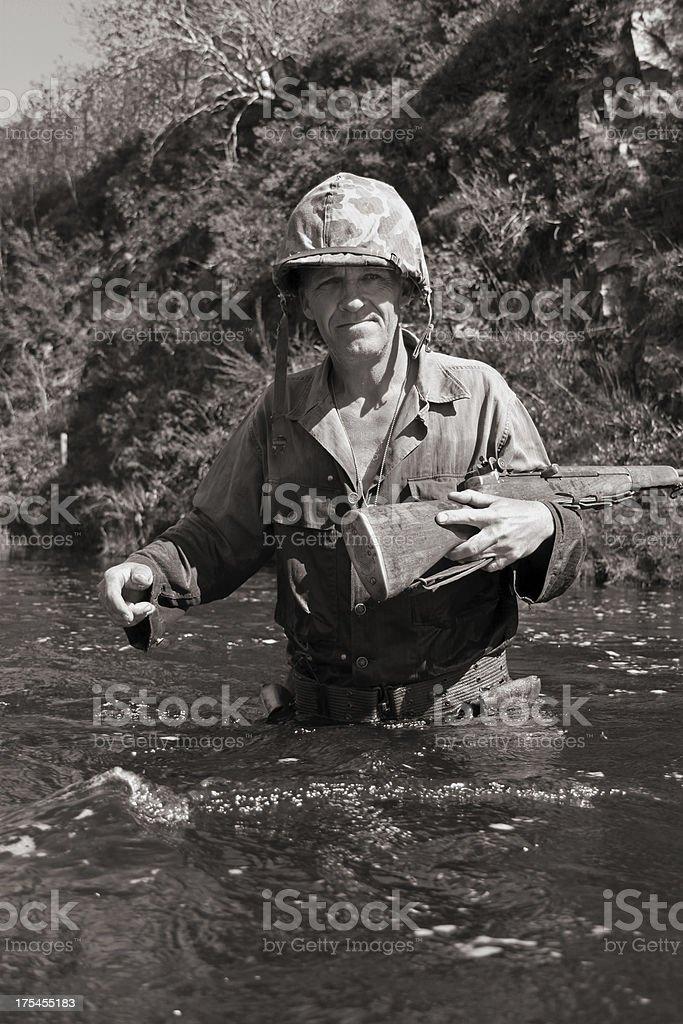 WW2 US Marine. stock photo