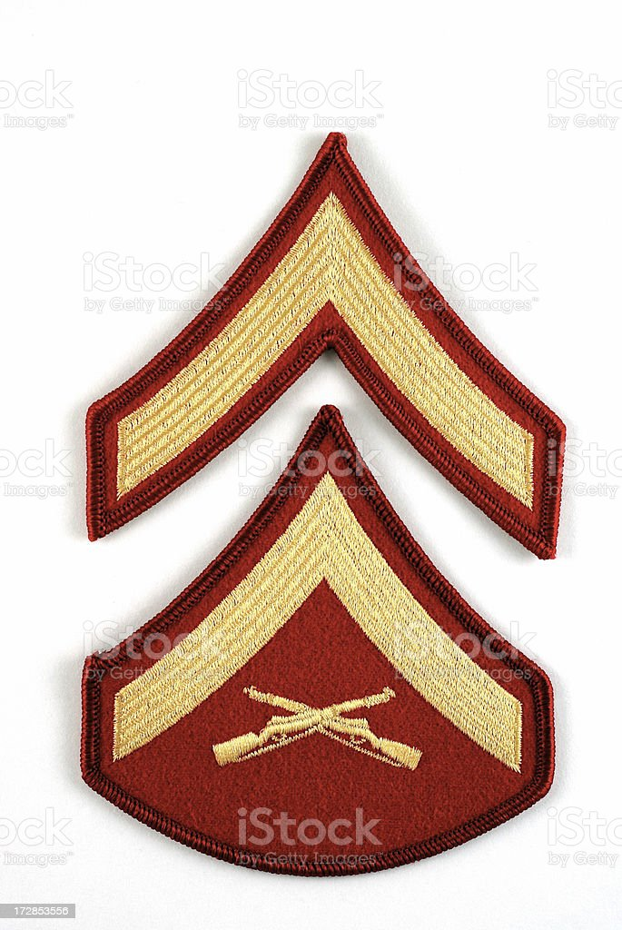 Marine Private and Lance Corporal Rank Insignia royalty-free stock photo