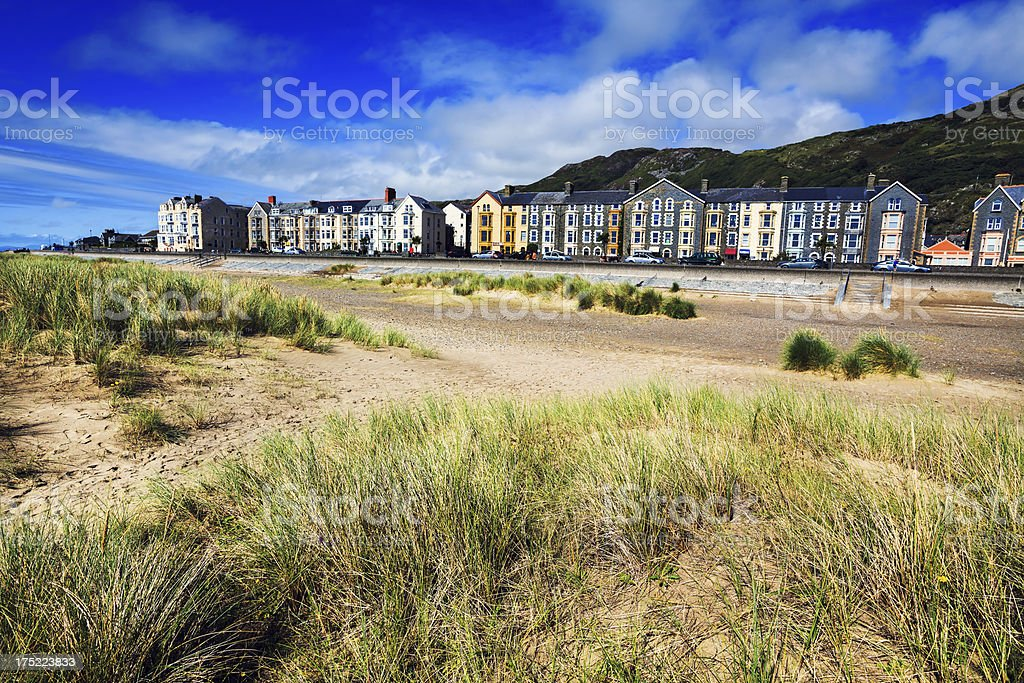 Marine Promenade viewed from Sand Dunes, Barmouth, Wales stock photo