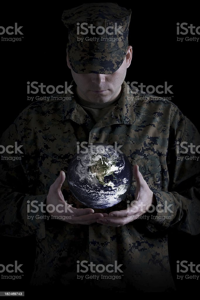 Marine Protecting Earth royalty-free stock photo