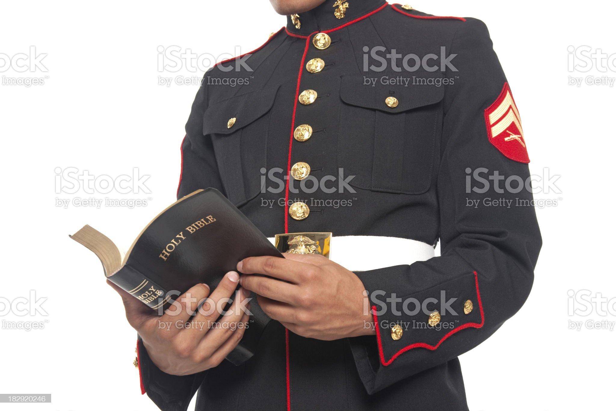 U.S. Marine Reading Bible royalty-free stock photo