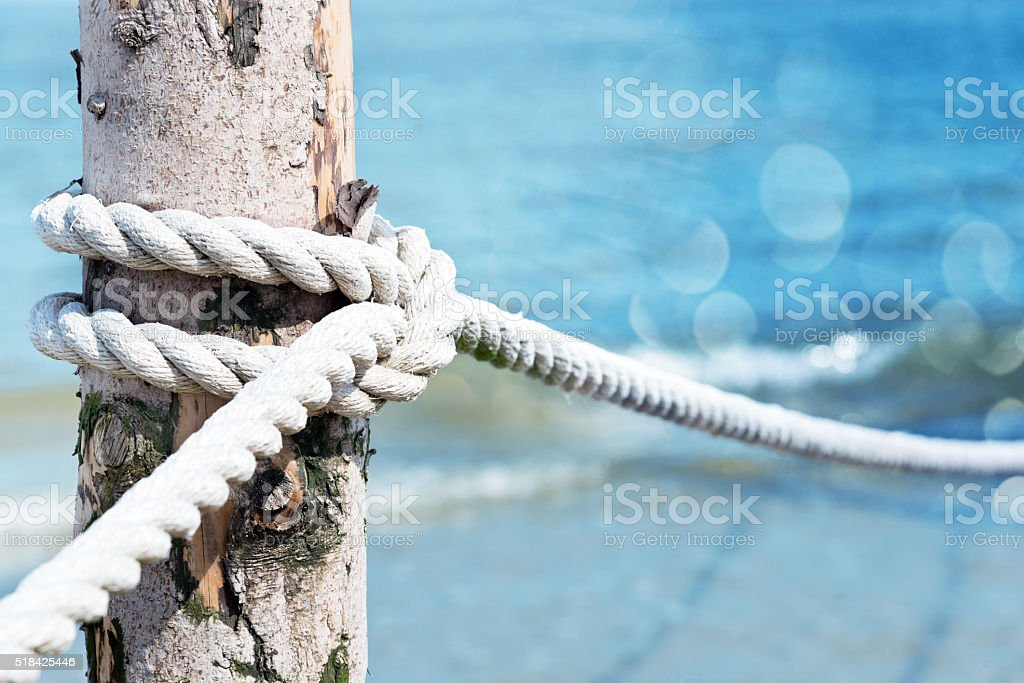 Marine Rope Infront Of The Ocean stock photo