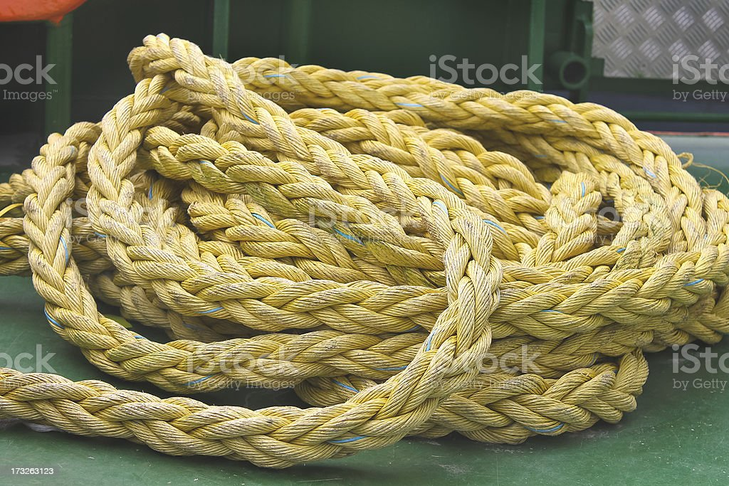 Marine rope on the deck of ship royalty-free stock photo
