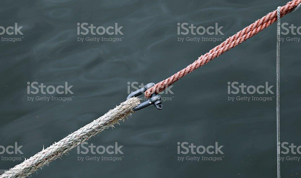 Marine ropes and fasteners stock photo