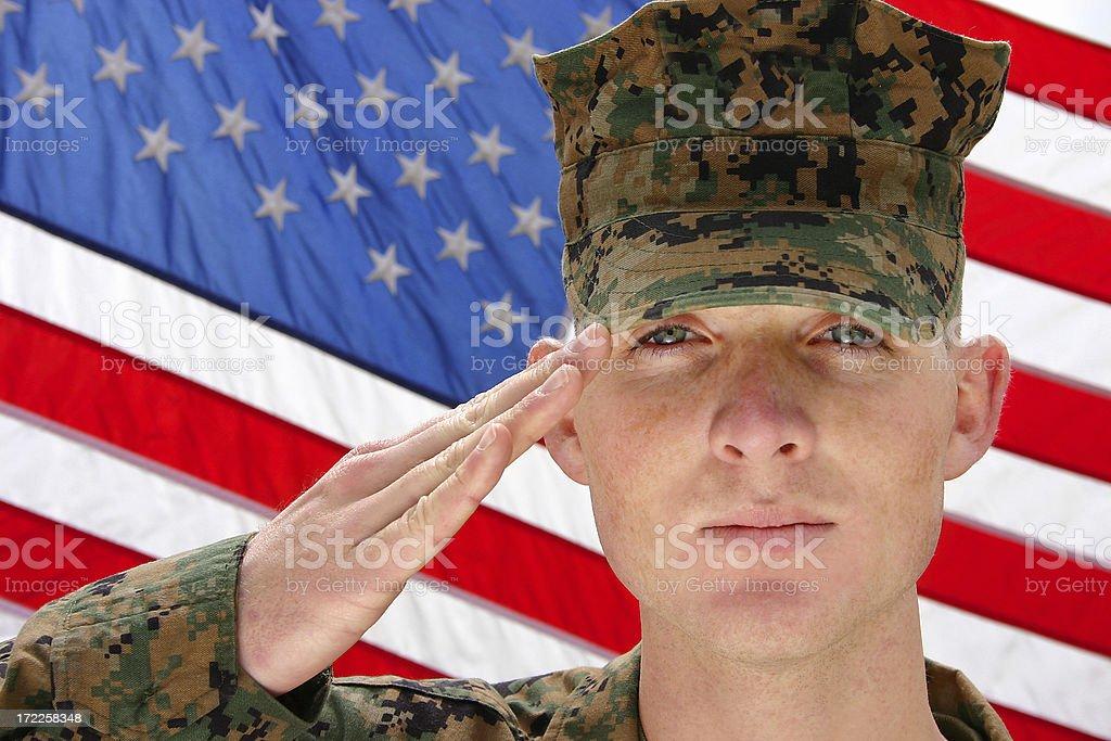 Marine saluting royalty-free stock photo