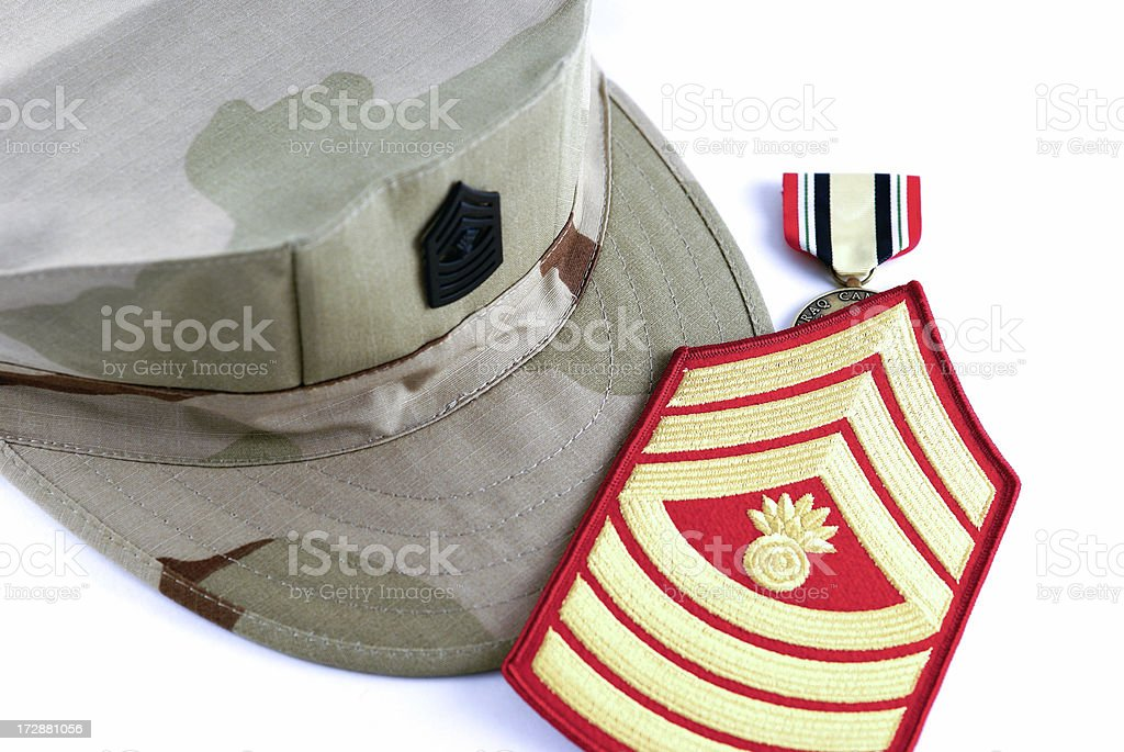 Marine Sergeant Camouflage Cap and Rank Insignia royalty-free stock photo
