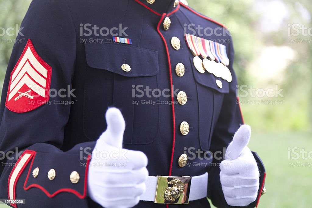 Marine Sergeant Gives Thumbs Up Gesture stock photo