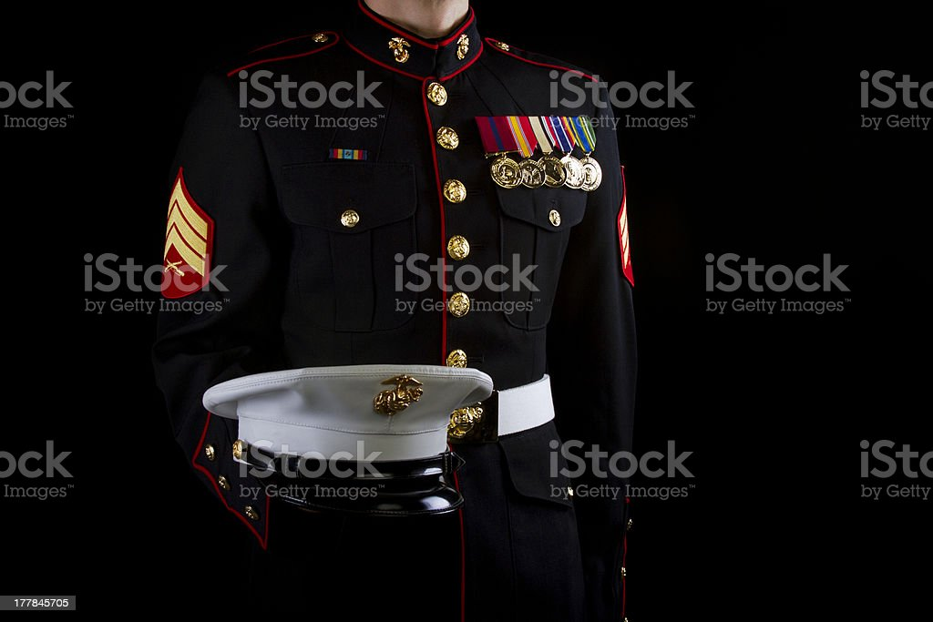 Marine Sgt Dress Blues Uniform stock photo