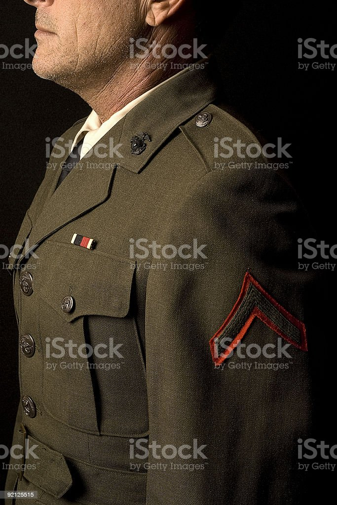 Marine Soldier In Profile royalty-free stock photo