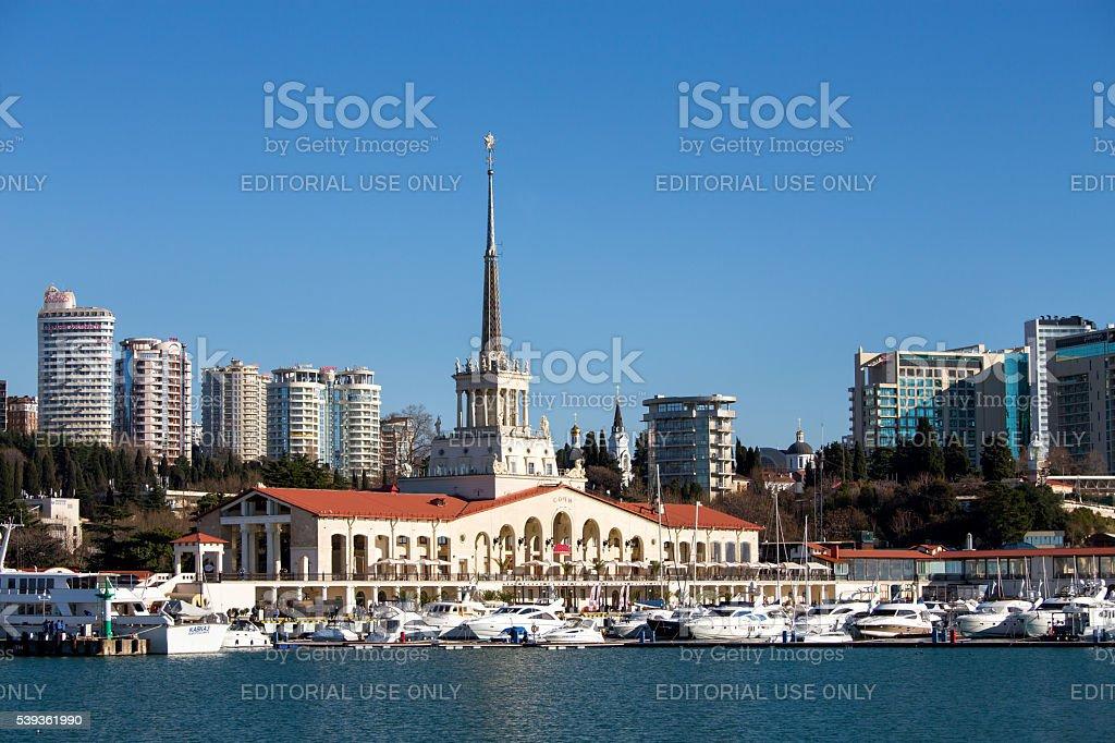 Marine station in Sochi stock photo