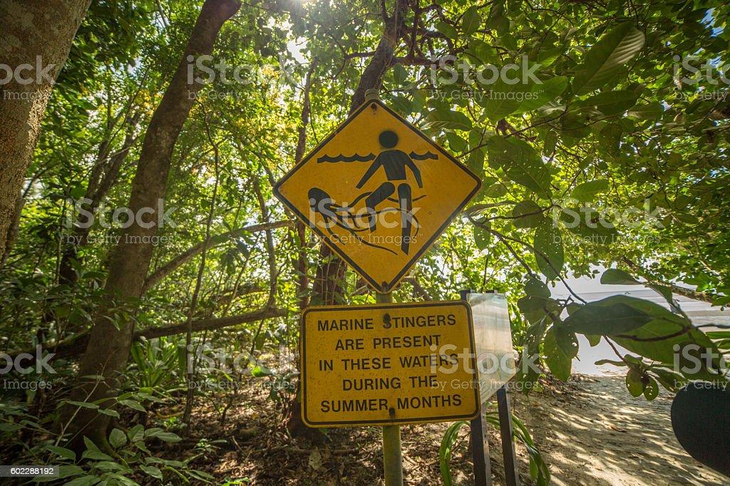 Marine Stinger warning sign, Australia stock photo