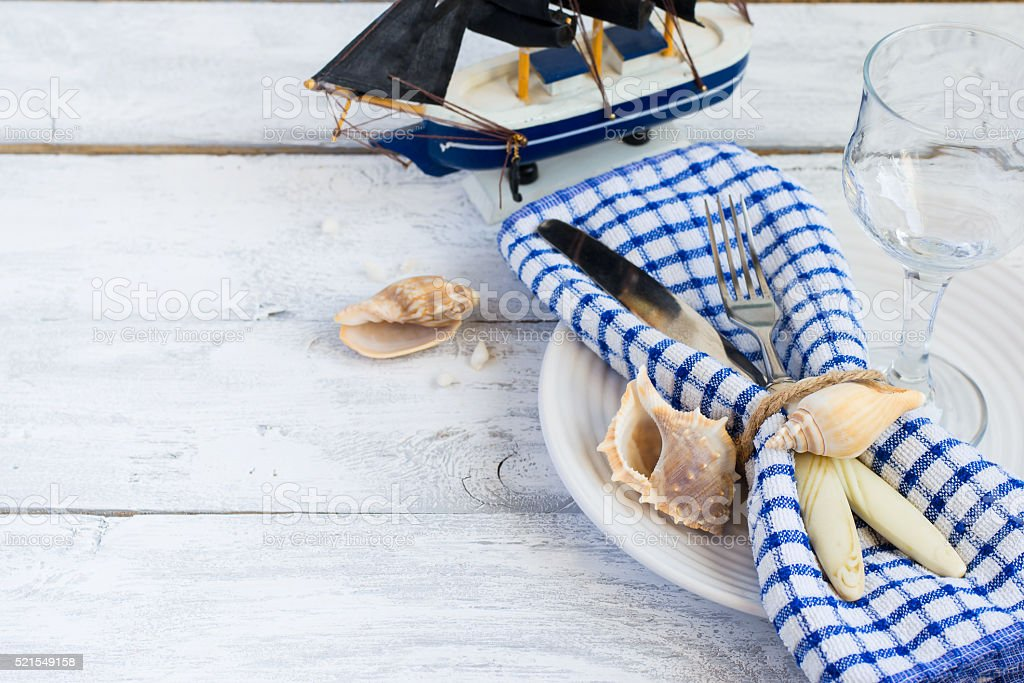 Marine style table setting, space for text stock photo