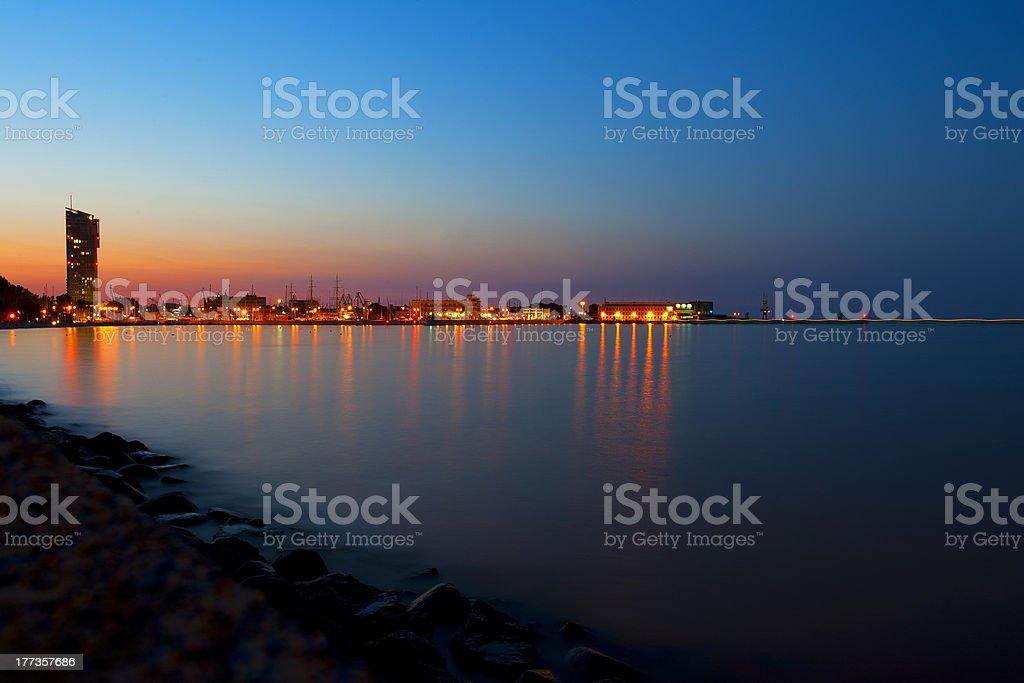 Marine town by night stock photo