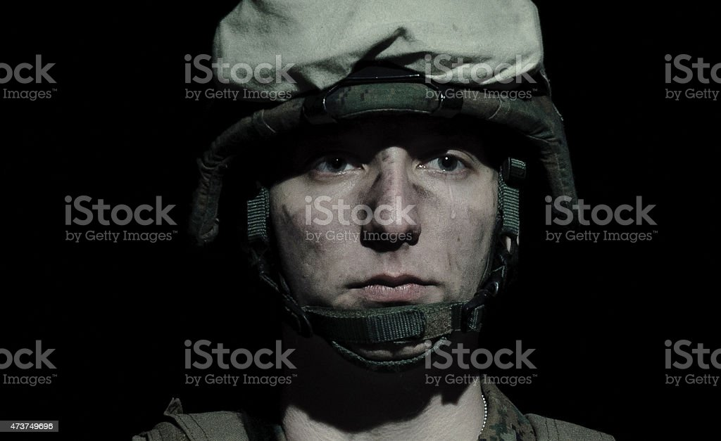 Marine U.S. Army in sorrow. stock photo
