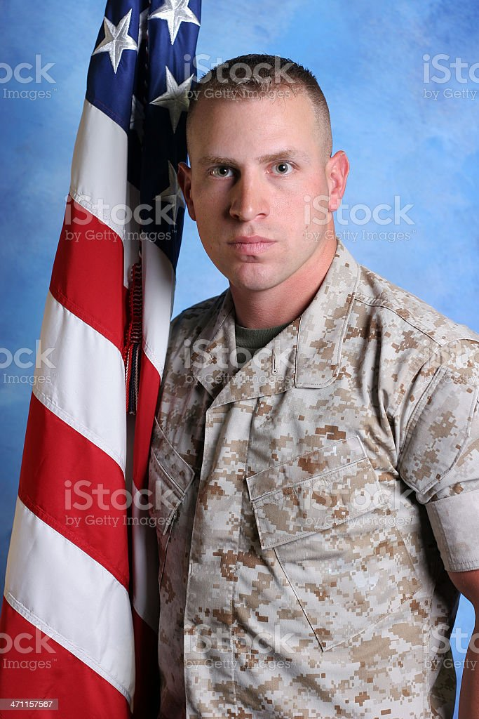 Marine With US Flag royalty-free stock photo