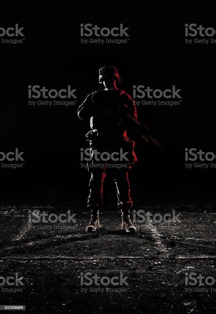 U.S. Marines at dark. stock photo