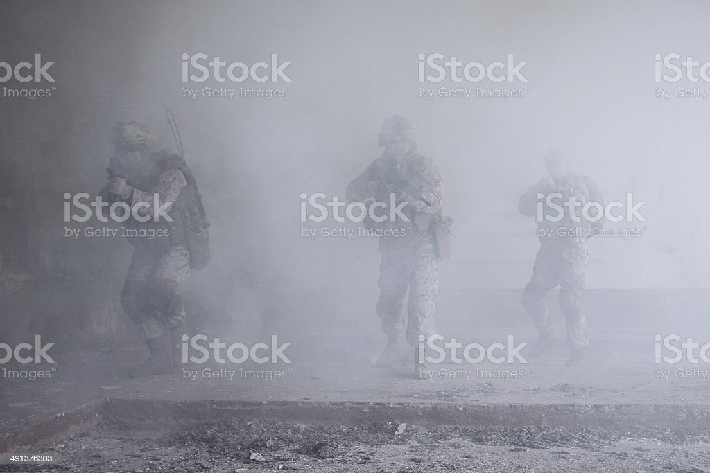 US marines in action stock photo