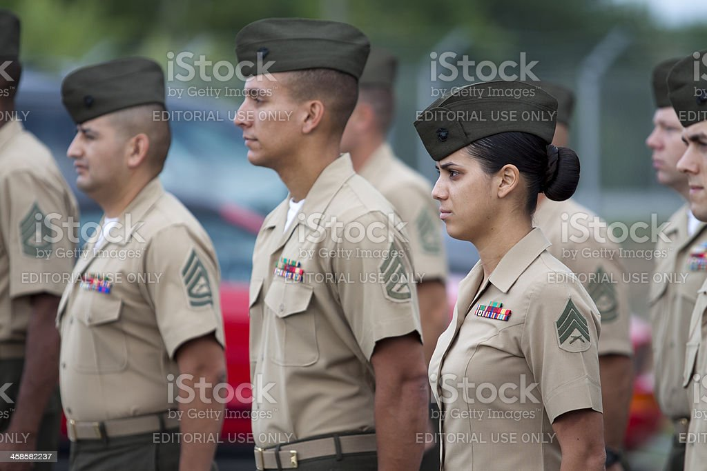Marines in Formation stock photo