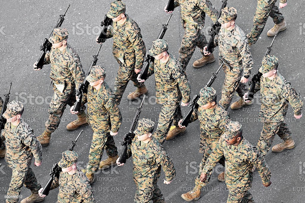US Marines march during military parade stock photo