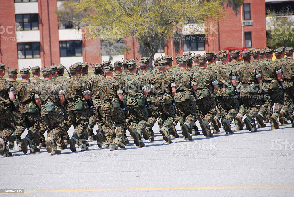 Marines Marching stock photo