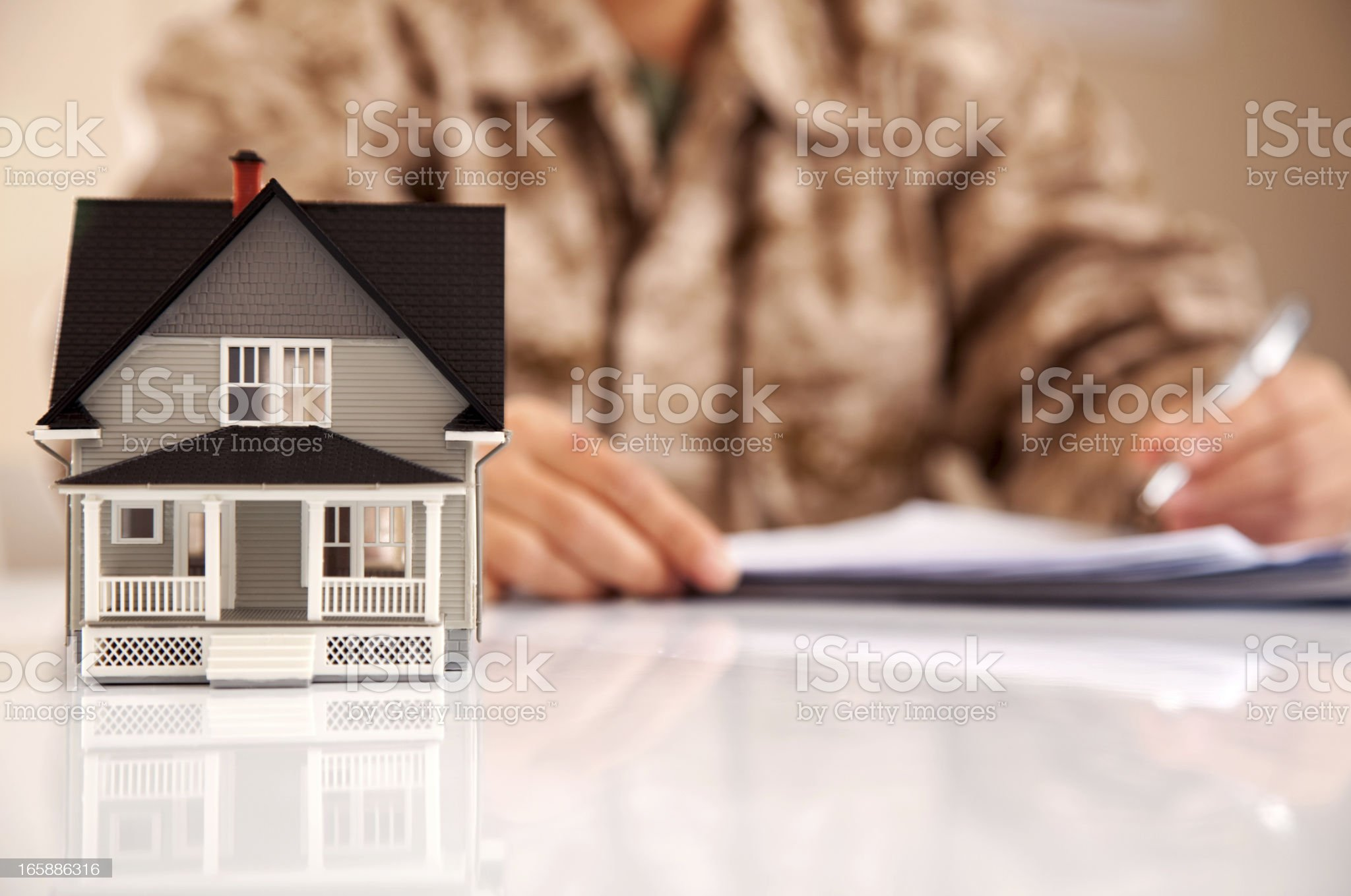Marines Uniformed Personel with Real Estate Paperwork royalty-free stock photo