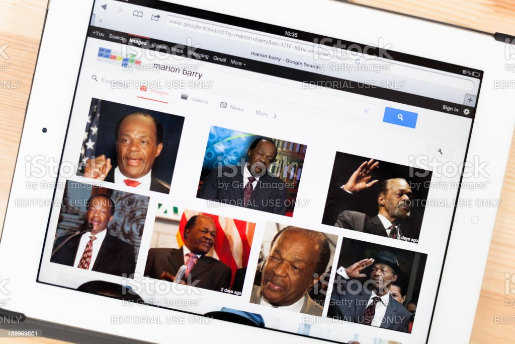 Marion Barry on iPad royalty-free stock photo