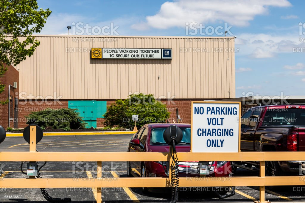 Marion - Circa April 2017: Special area at the General Motors Metal Fabricating Division set aside for charging of the Chevrolet Volt EV Electric Vehicle V stock photo