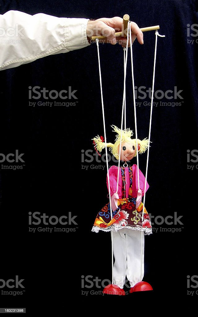 Marionette on black bkgd royalty-free stock photo
