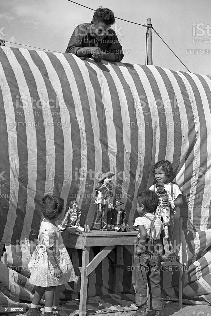 marionette show at Gutierrez Show 1947 stock photo