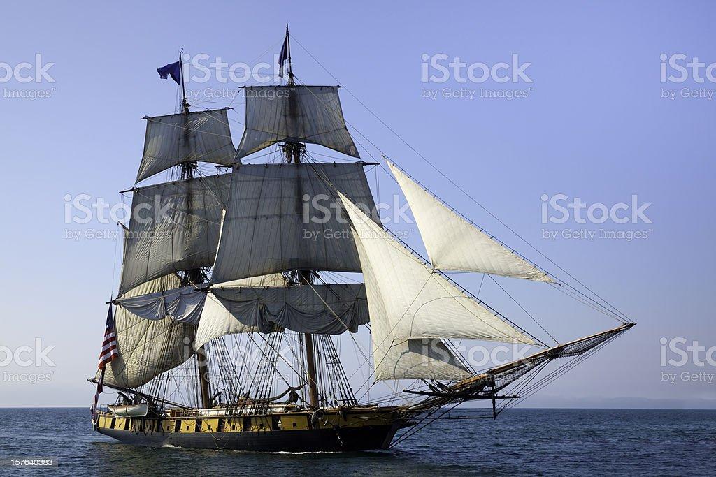 Maritime Adventure; Majestic Tall Ship at Sea stock photo