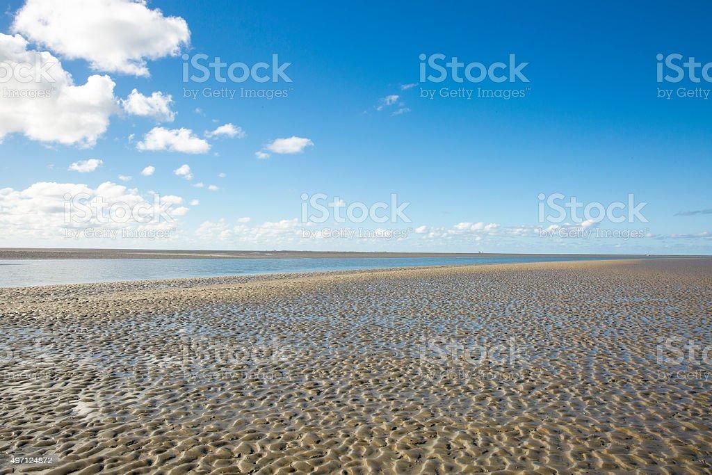 Maritime landscape  Wadden Sea, Friesland, The Netherlands stock photo