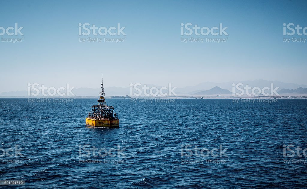 Maritime navigation. Baken in the Red Sea stock photo