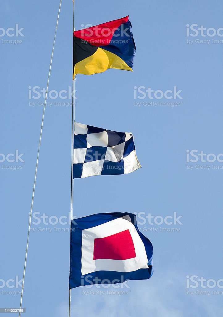Maritime signal flags stock photo