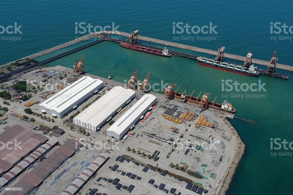 Maritime terminal export of steel products in Brazil stock photo