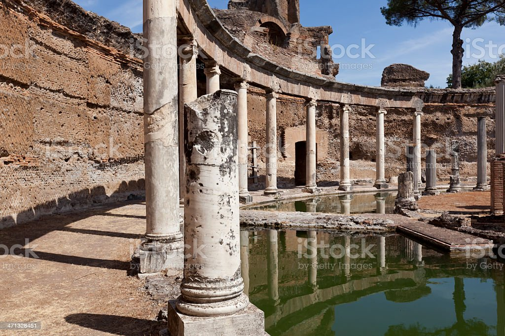 Maritime Theatre in Villa Adriana stock photo