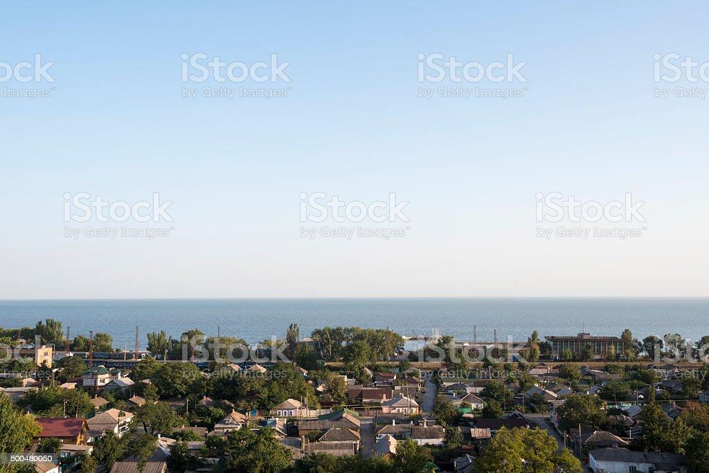 Mariupol and Sea of Azov in Ukraine stock photo
