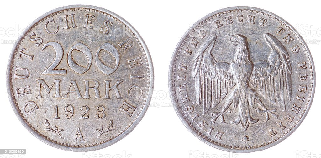 200 mark 1923 coin isolated on white background, Germany stock photo