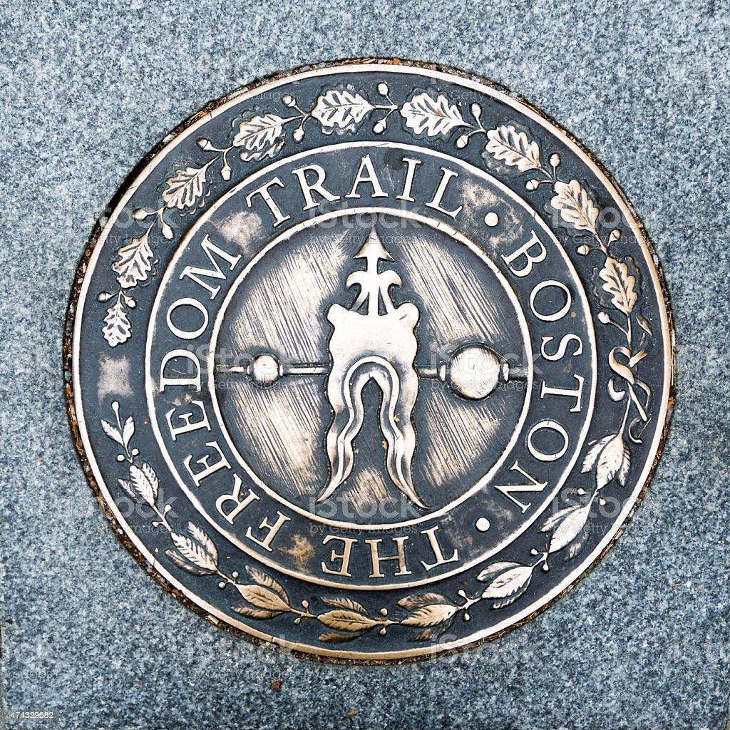 Mark along historic Freedom Trail in Boston, Massachusetts stock photo