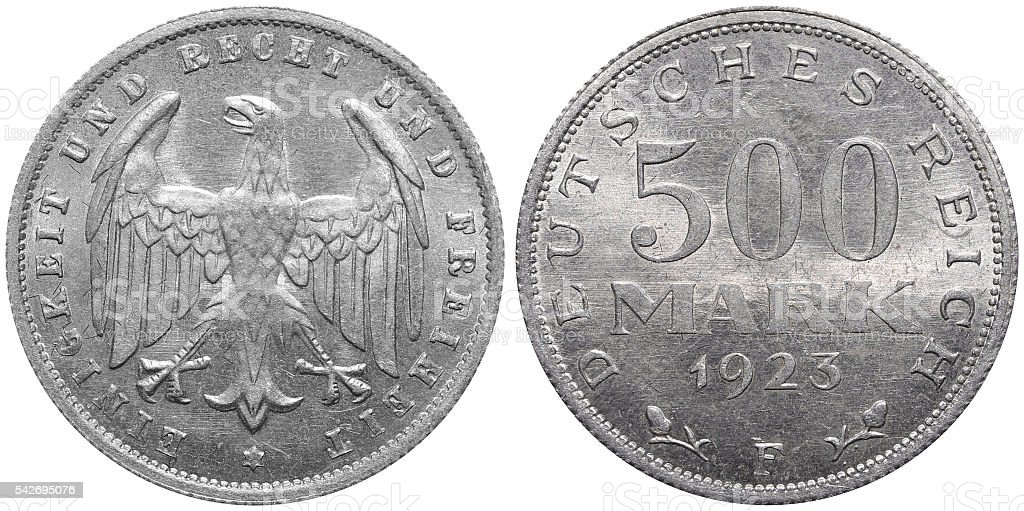 500 Mark coin formerly used in the German Reich stock photo