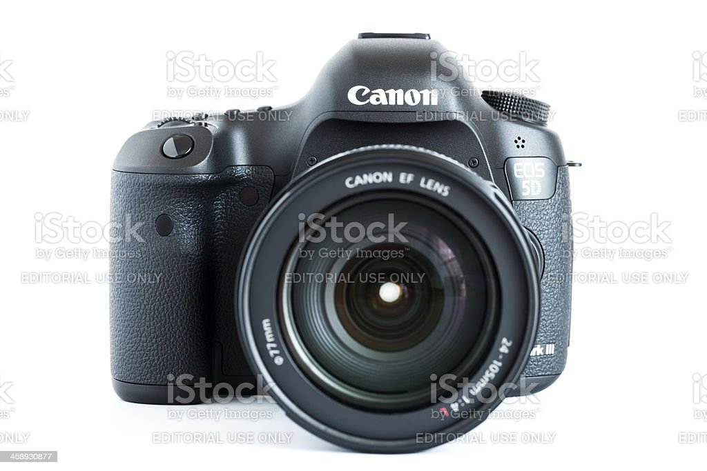 EOS 5D Mark III Canon digital camera with lens royalty-free stock photo