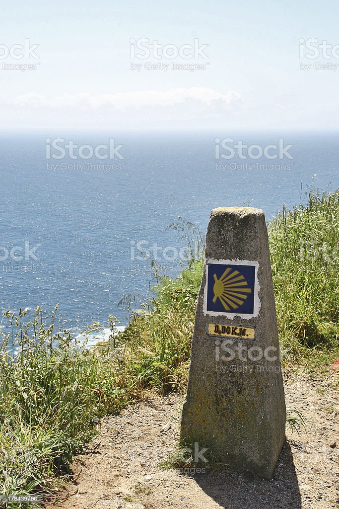 Mark of the famous Km 0,00 in Finesterra, Spain stock photo