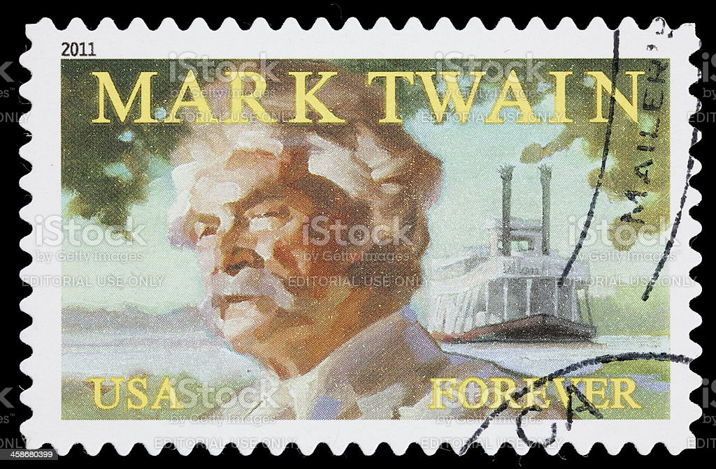 USA Mark Twain postage stamp royalty-free stock photo