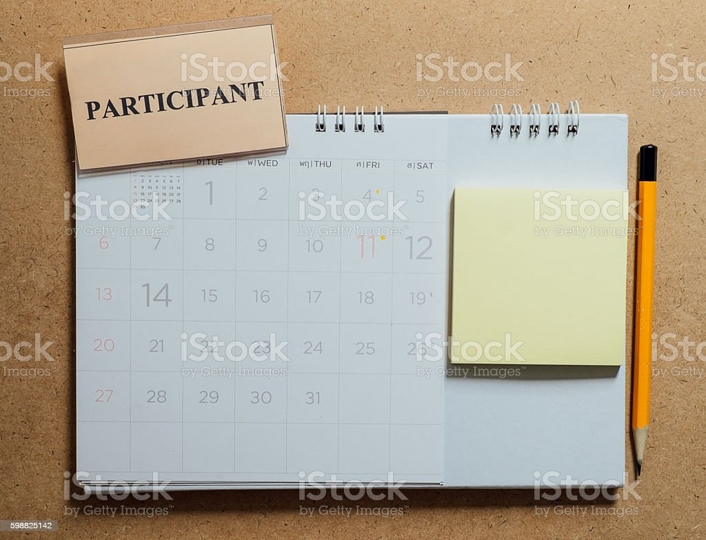 Marked and written  in calendar stock photo