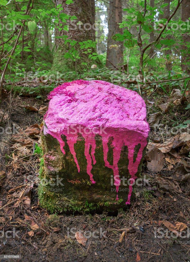 Marked boundary stone royalty-free stock photo