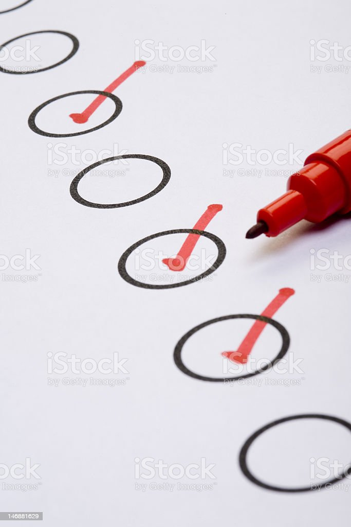 Marked checklist royalty-free stock photo